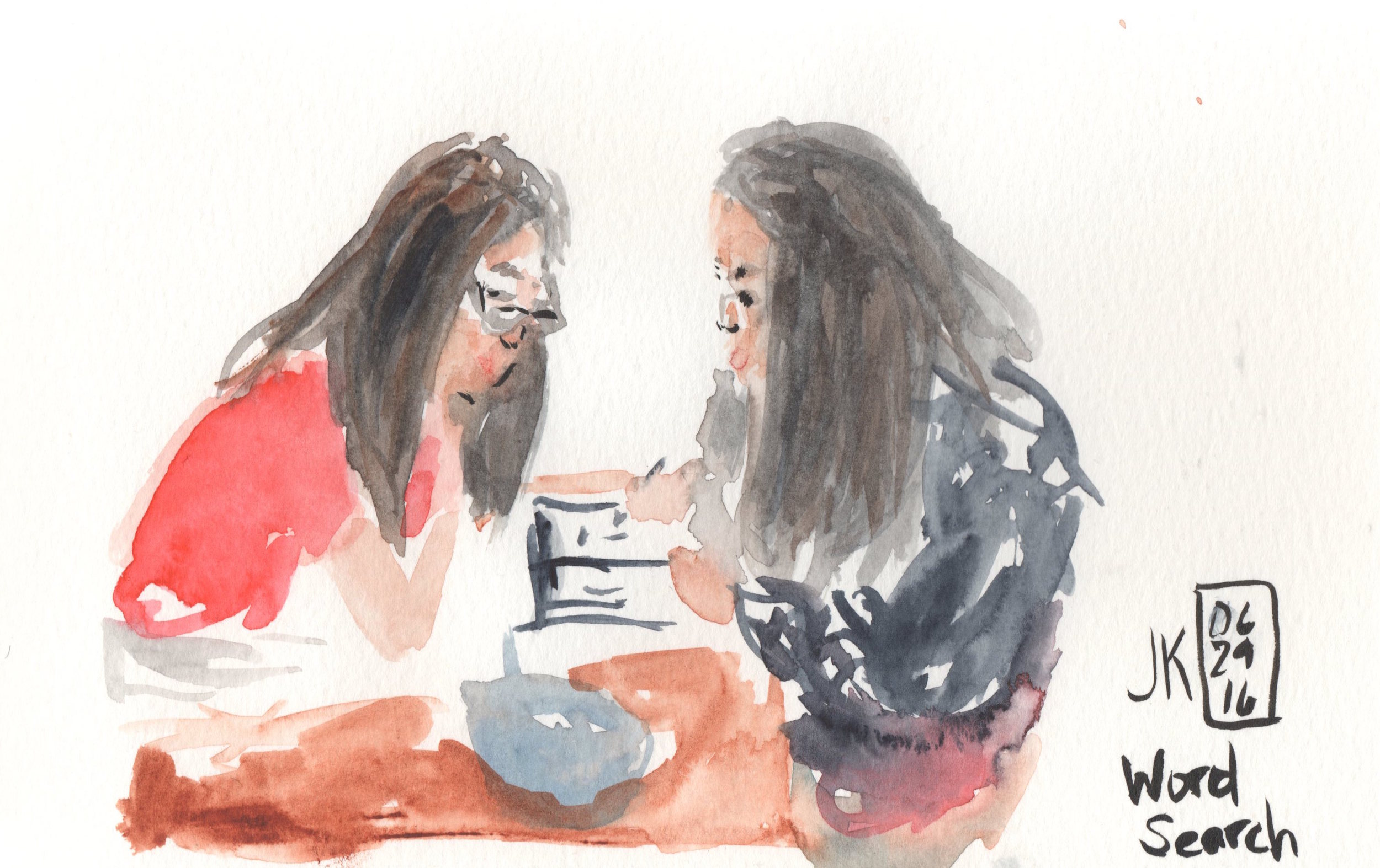 Sketching my girls after dinner just using watercolors directly