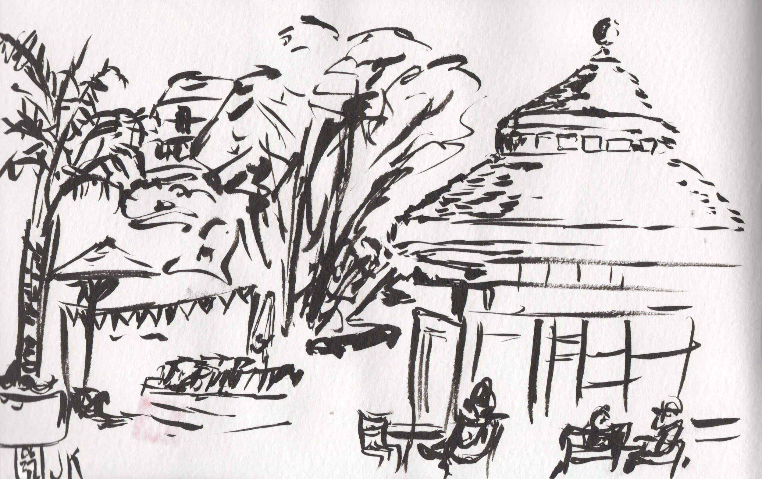 Sketching at the Claremont Resort with just my Pentel brush pen
