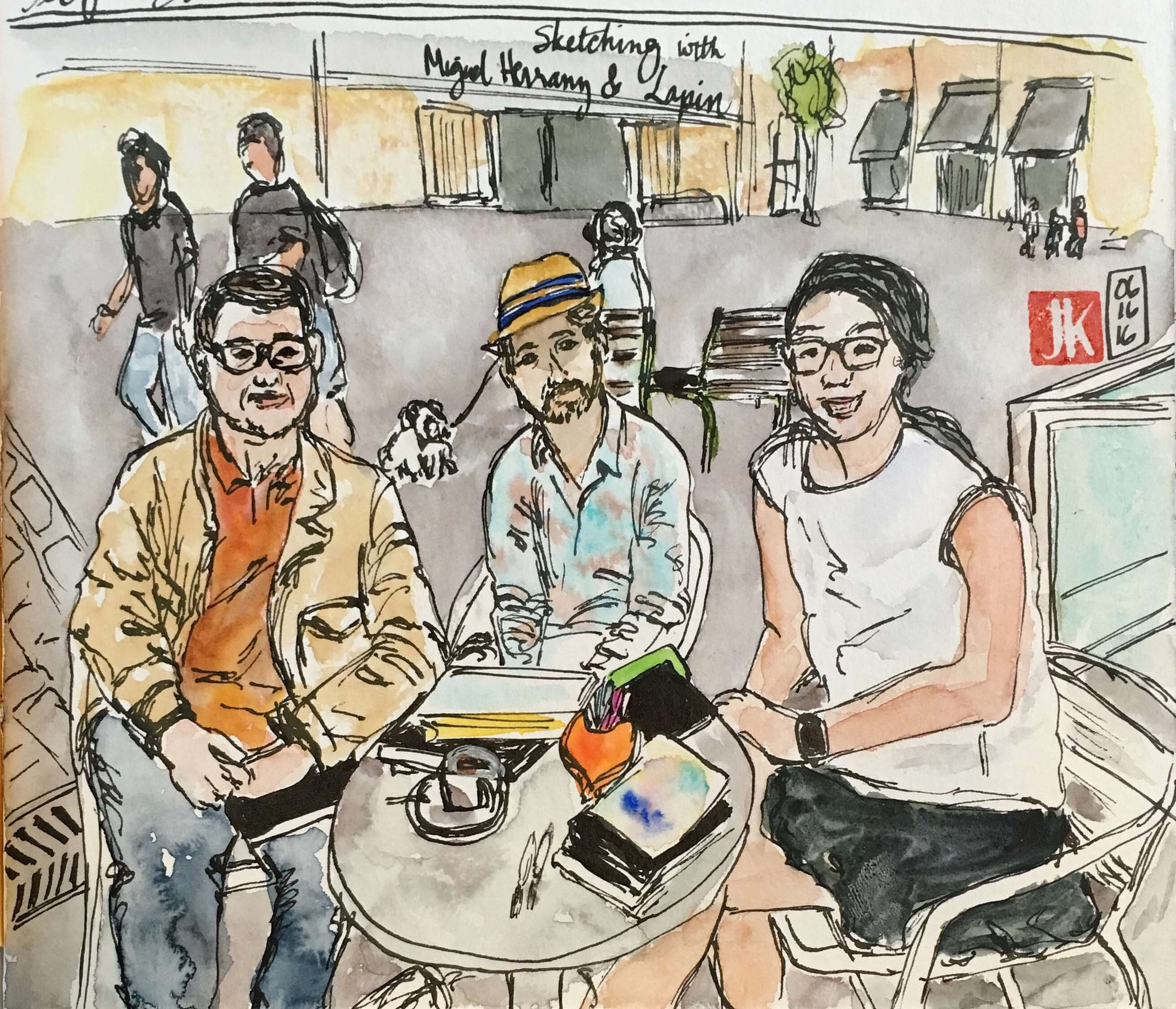 Sketching with Miguel Herranz and Lapin near the Cultural Center