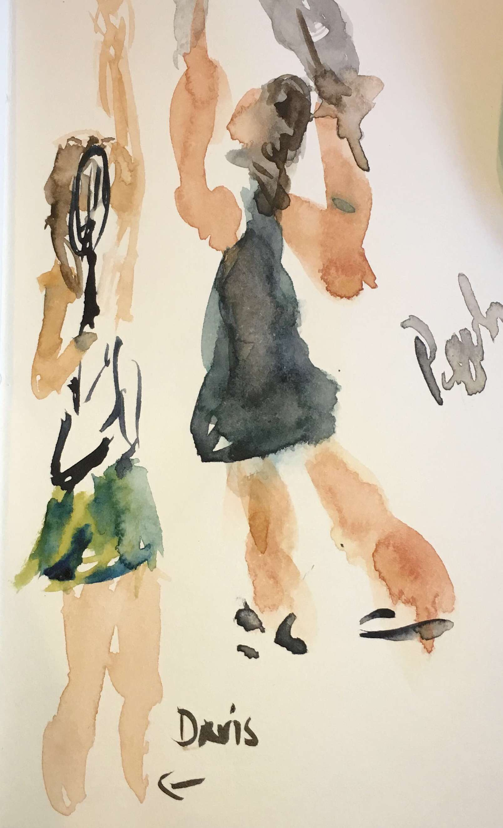 Davis & Pegula hitting serves in watercolor