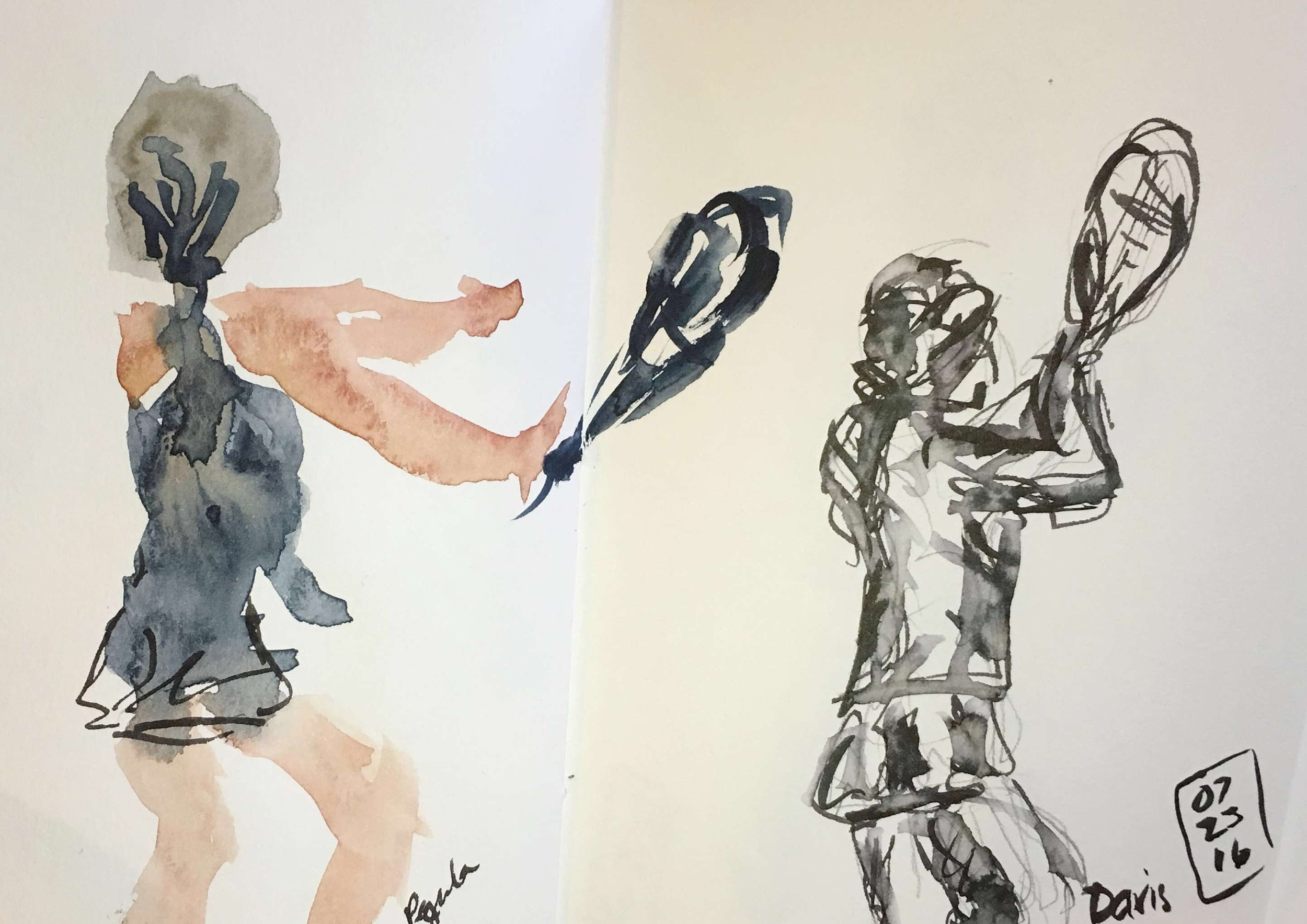 Pegula hitting a forehand in watercolor; Davis lining up a forehand in watersoluble ink