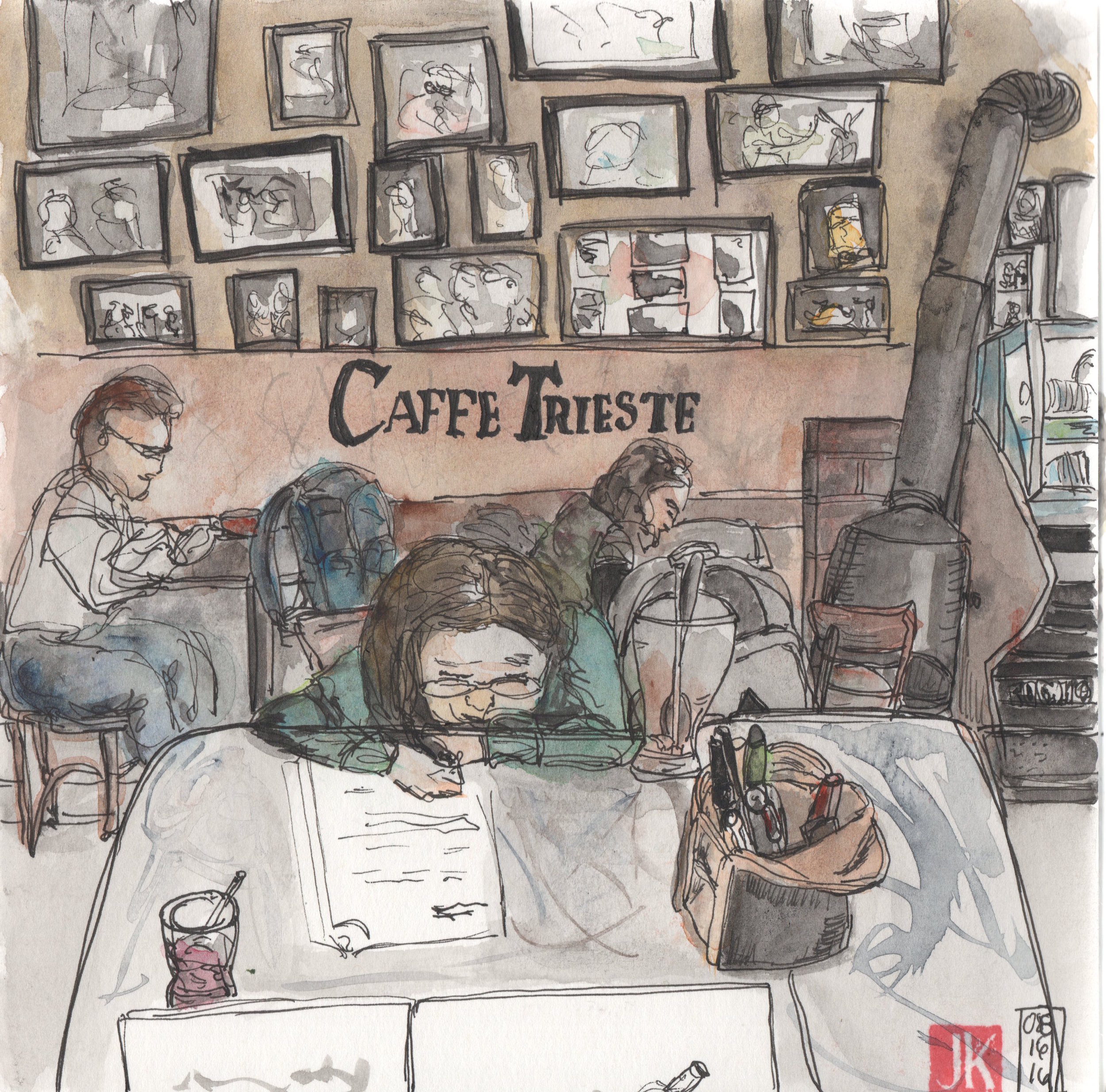 Fretting over homework in Caffe Triest