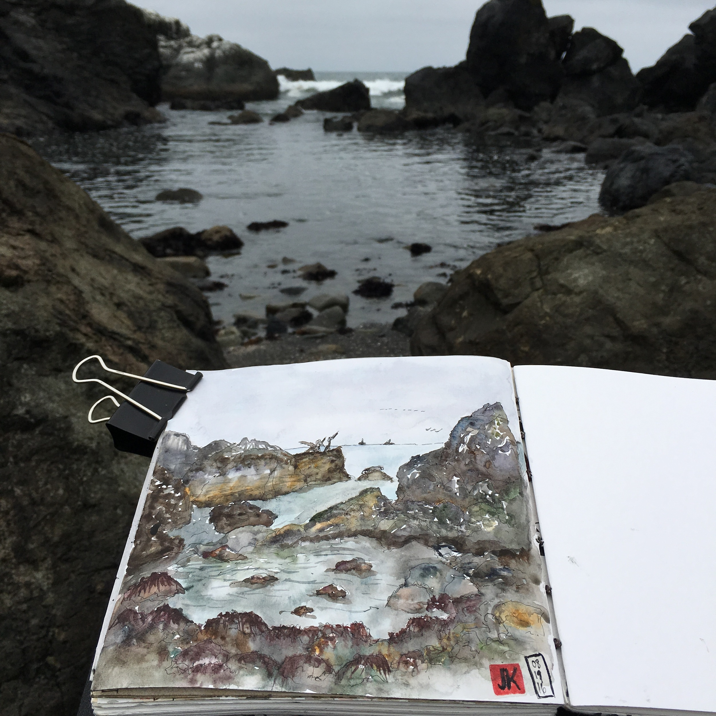 Using my easel at the tide pools