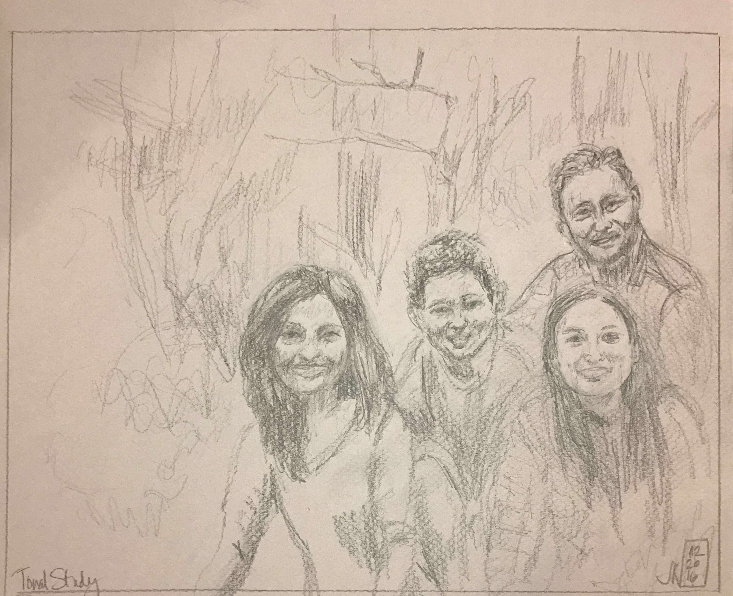 I thought about getting a closer view of the family in this next tonal study