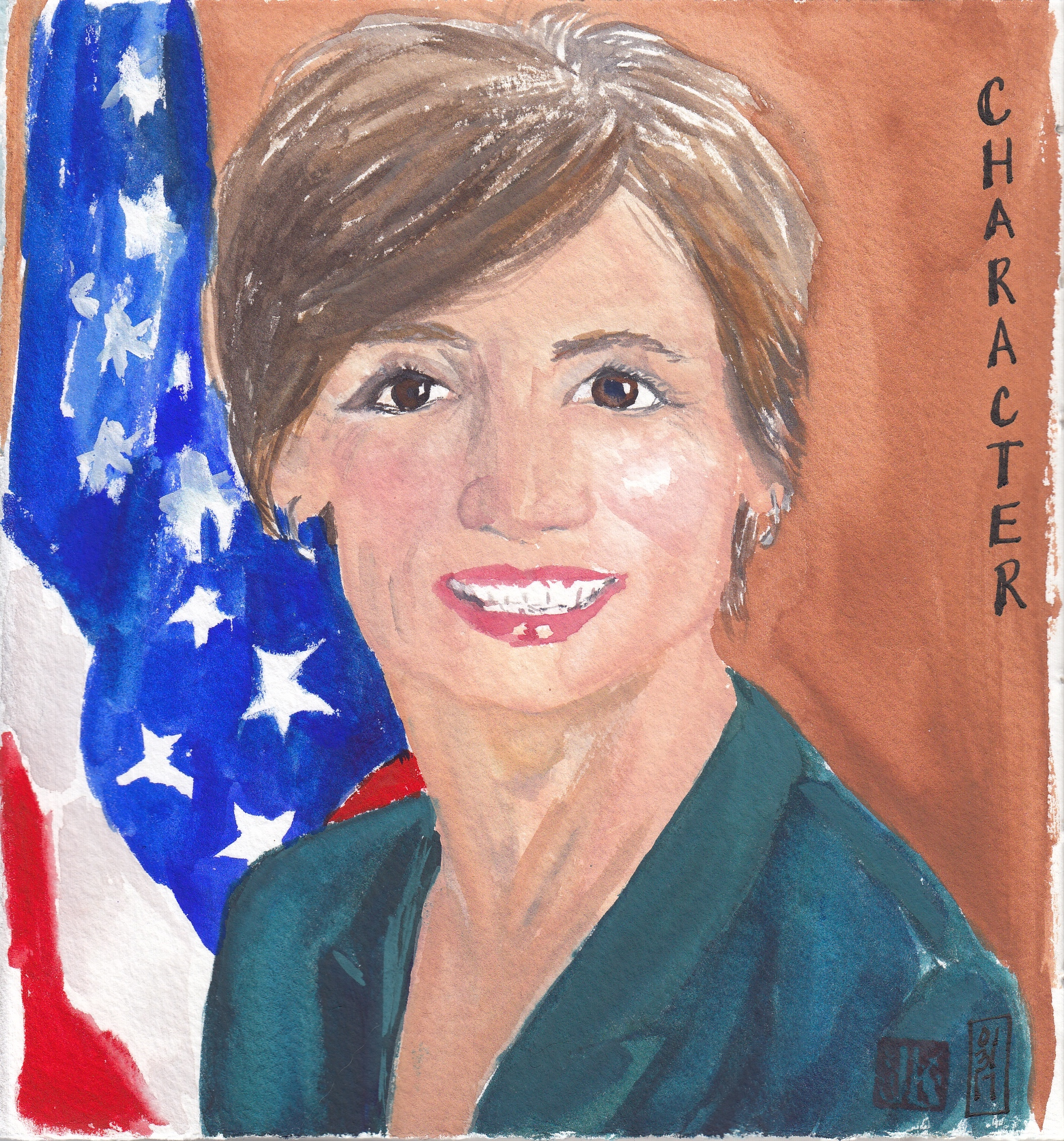 My first gouache portrait - an American hero, Sally Yates