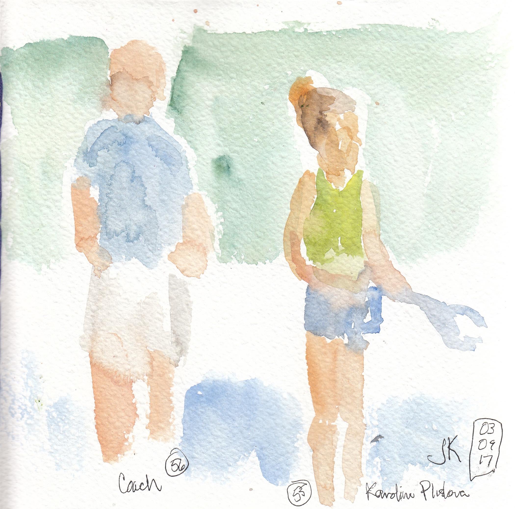 Nos. 55 & 56 - Karolina Pliskova and her coach on the practice courts