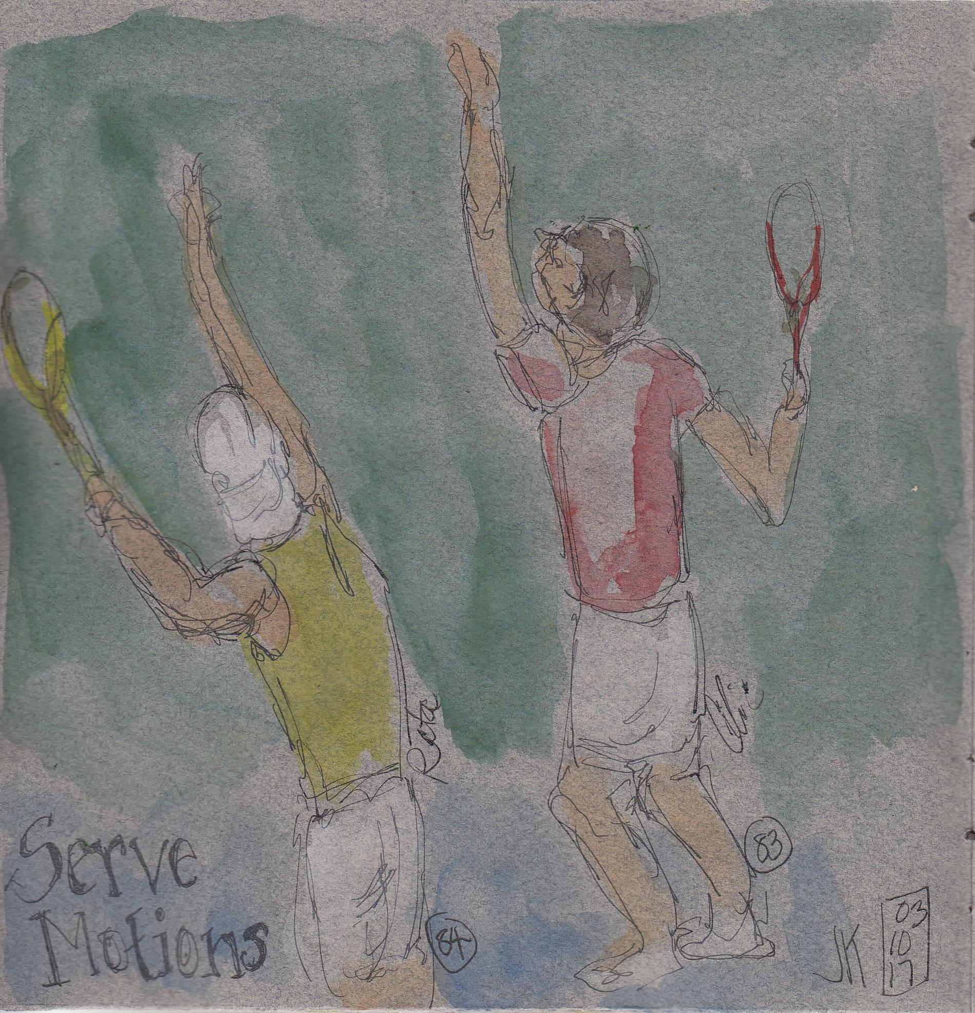 Nos. 83 & 84 - Rafa Nadal and Marin Cilic practicing their serves