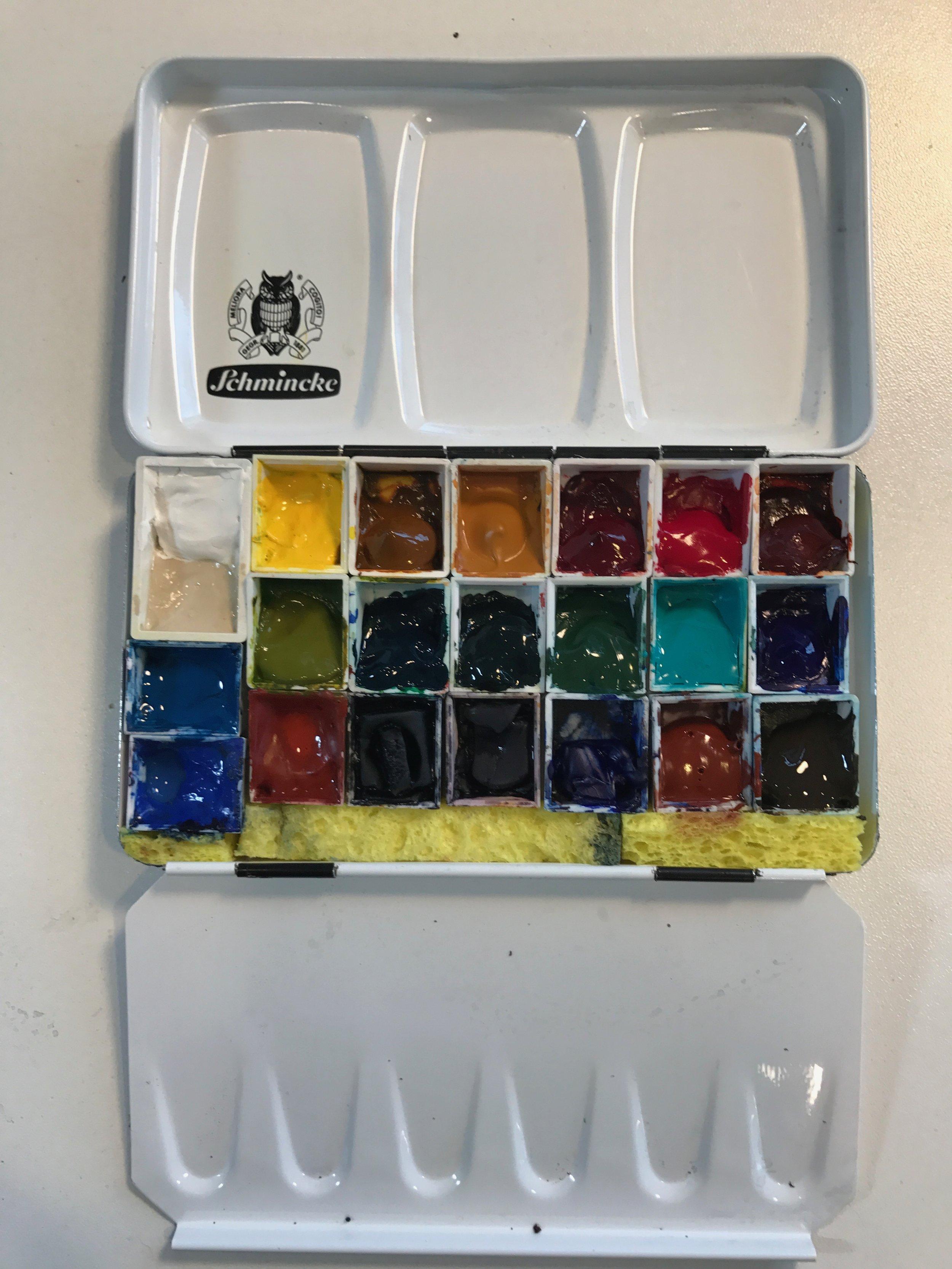 My new Schmincke palette with Daniel Smith watercolors