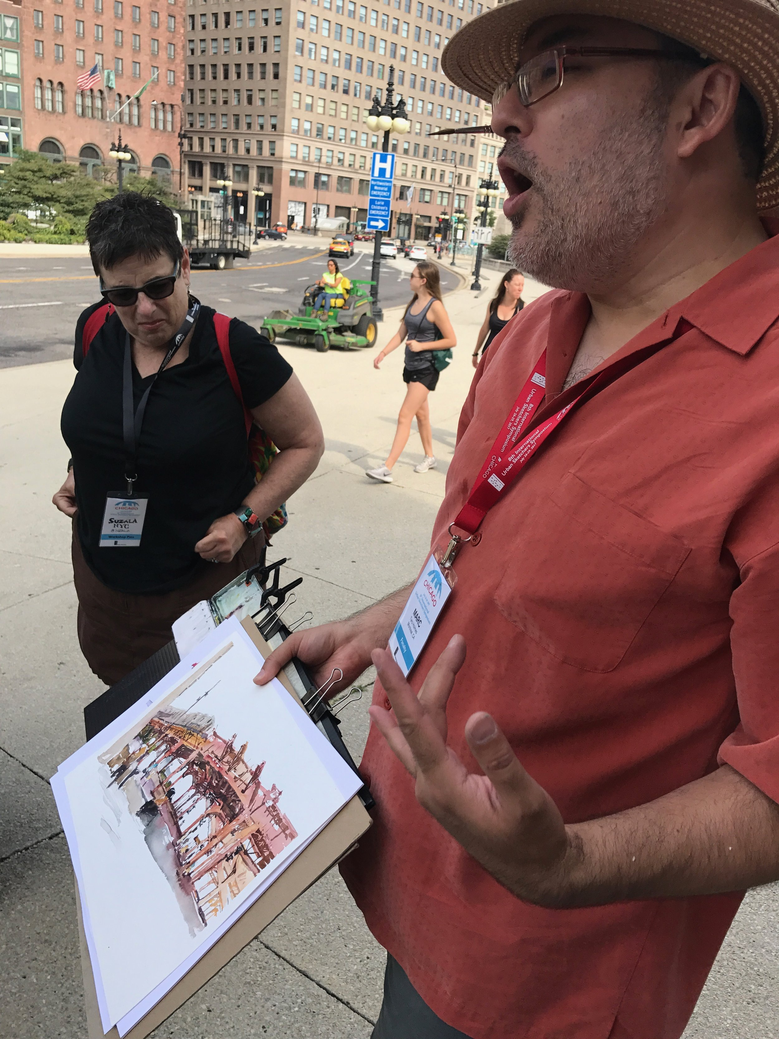 Marc showing us an urban sketch of the elevated train in Chicago
