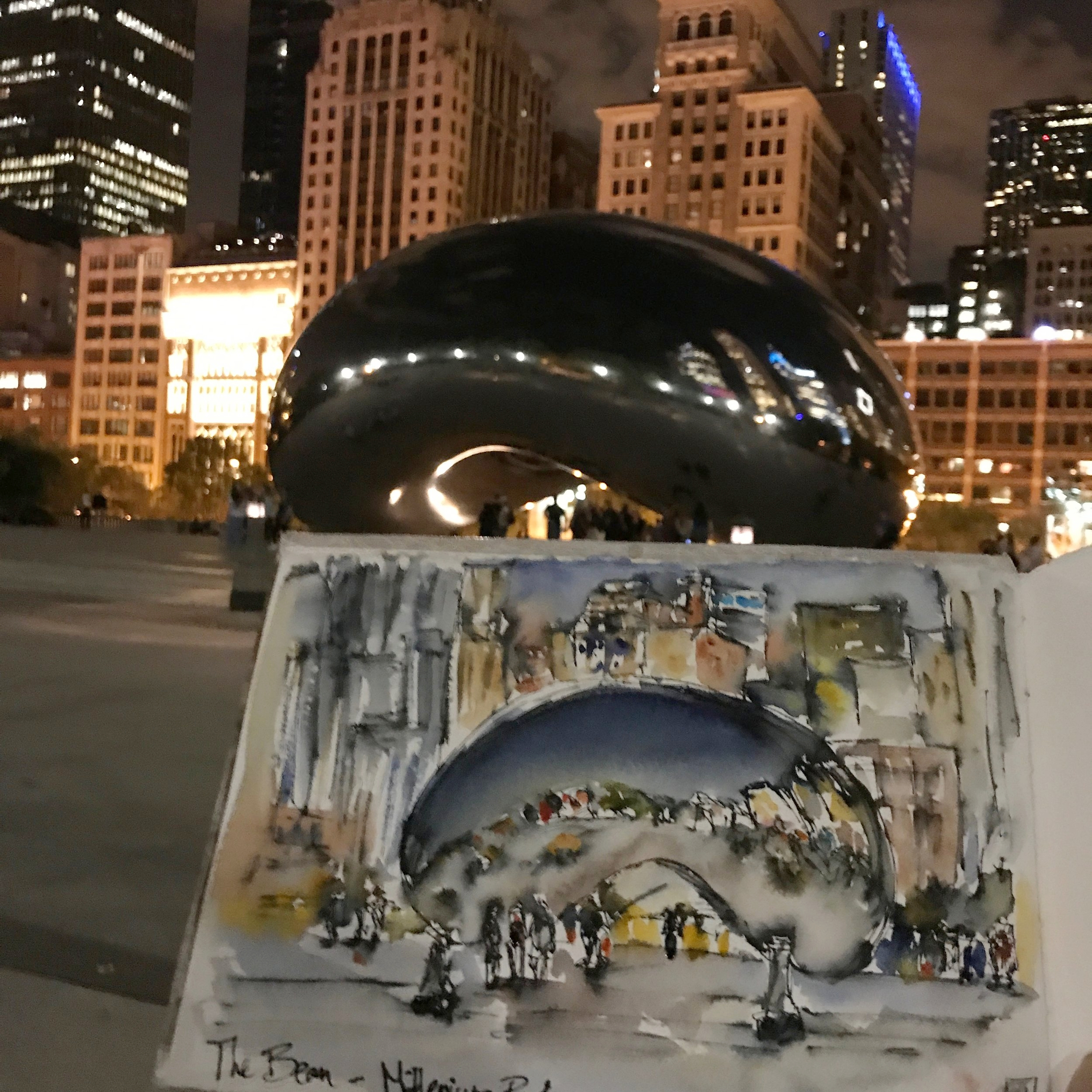 """My nighttime sketch of """"The Bean"""""""