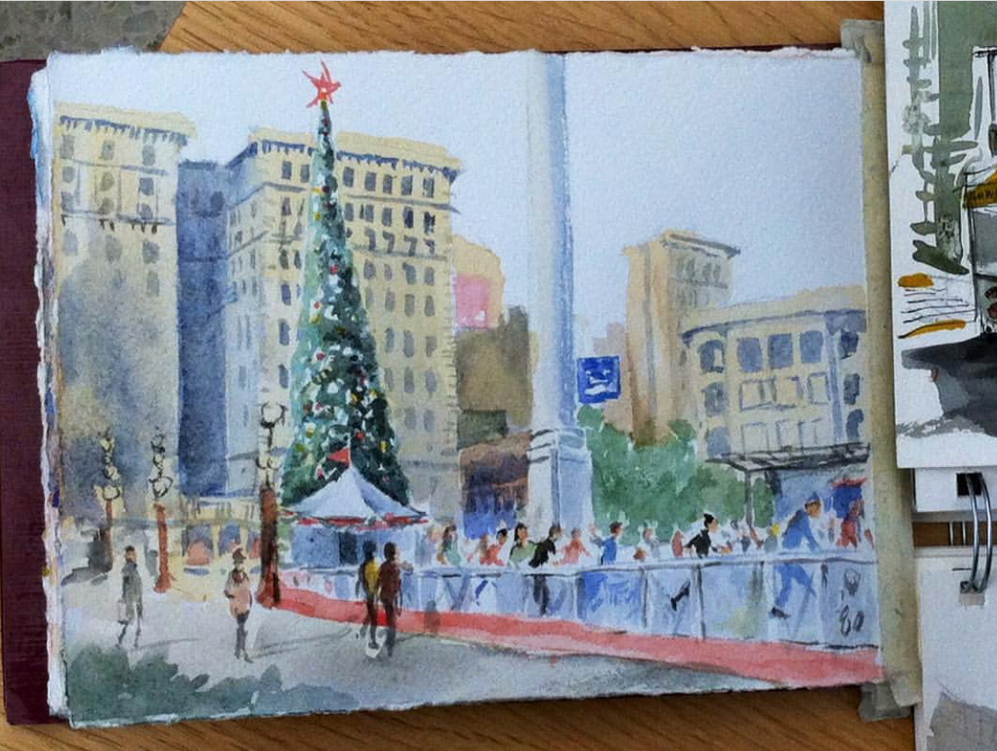 This piece by Judy W. looks like a beautiful postcard. I love how she indicated the ice skaters with so few marks!