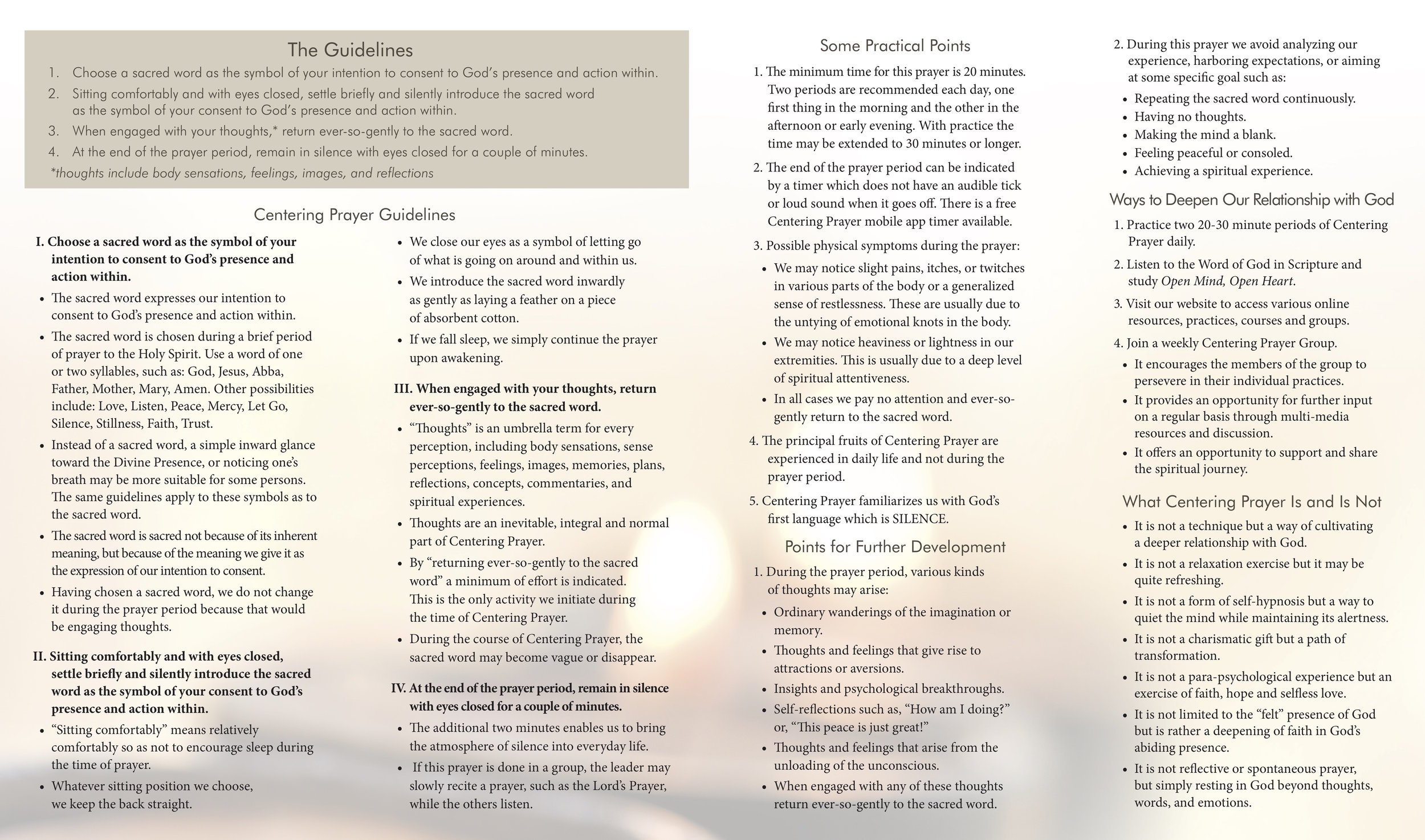 Centering Prayer Guidlines    via https://www.contemplativeoutreach.org