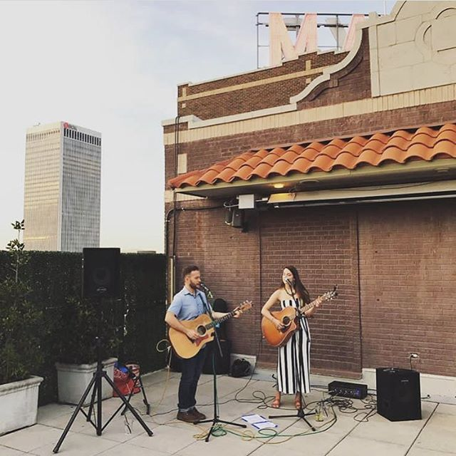 Tonight at 8:30 we're going to be back on the rooftop of the beautiful @themayohotel singing some of our favorite tunes for you. Hope to see you there, Tulsa! 📷: @admiller15