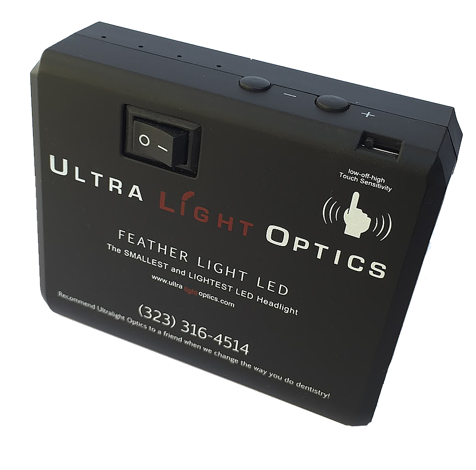 Feather Light by Ultralight Optics dental   loupes light touch battery pack