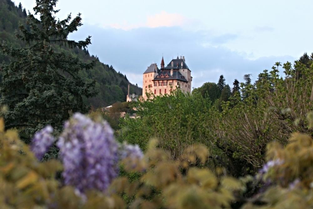 Deck view of the famous Chateau Menthon Saint Bernard.