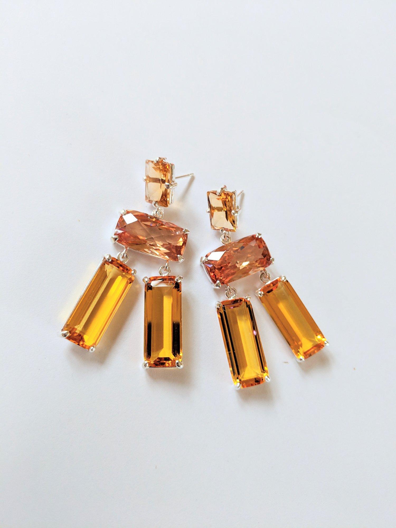 Yellow Quartz Mystic Orange Earrings Dorian Webb