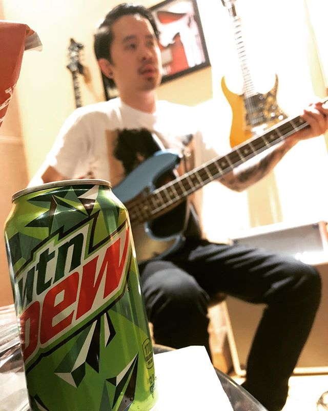 Now on to bass guitar sponsored by @mountaindew