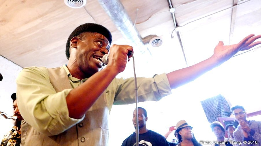 The one and only Donnie preaches sounds of protest with Wolfpack ATL during Music In The Park 2016 at Gallery 992.