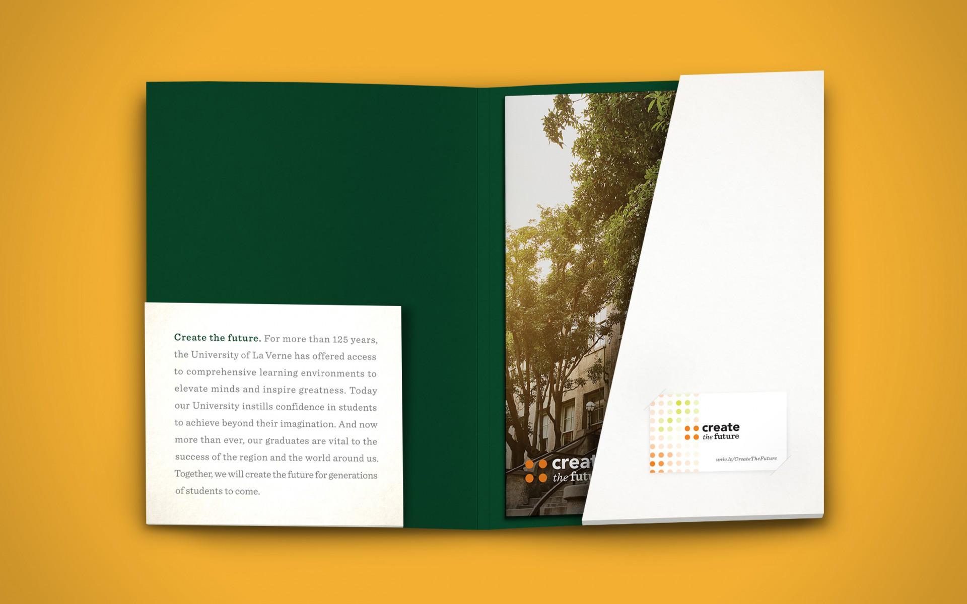 Folder interior and campaign materials