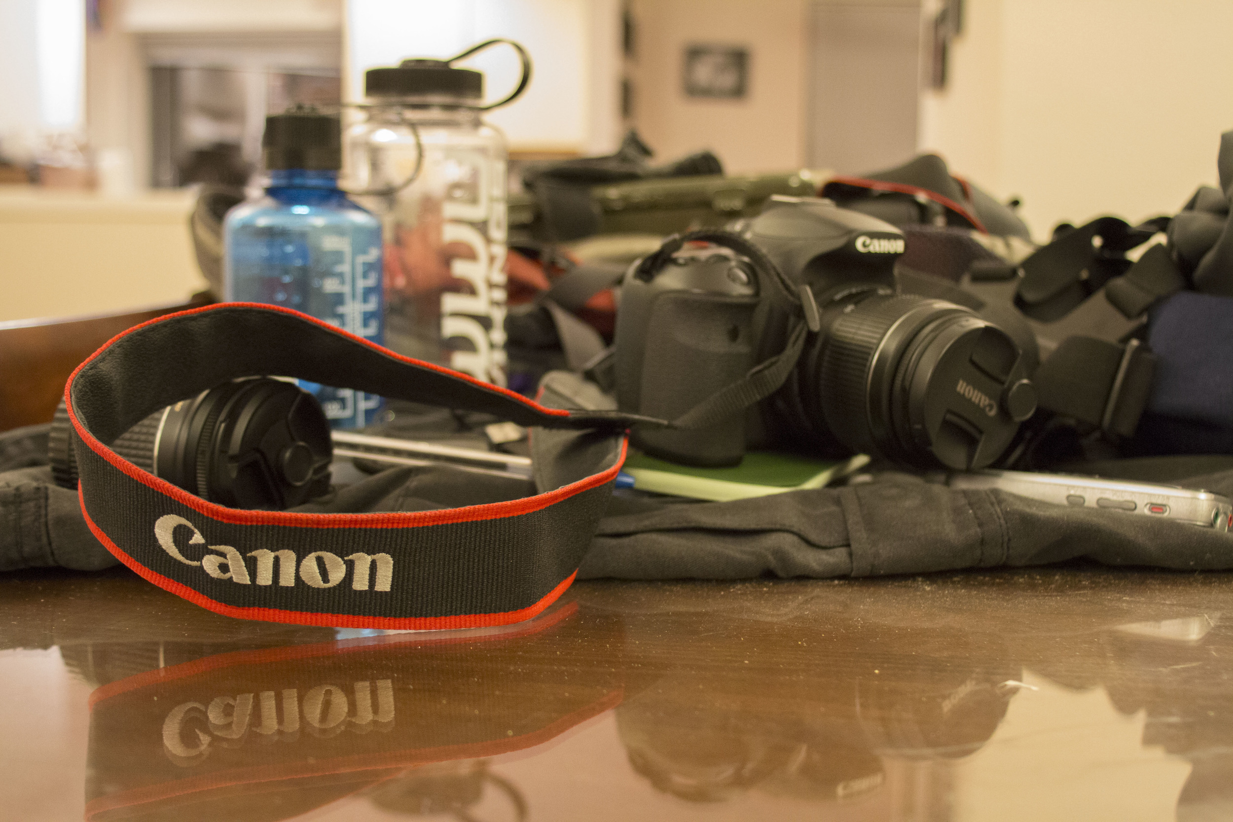 """Nelson's """"protest kit,"""" includes his camera with extra batteries, two Go Pros,water, milk in case he gets pepper spray in his eyes, gloves, a Write In The Rain notebook,pens, and a recorder."""