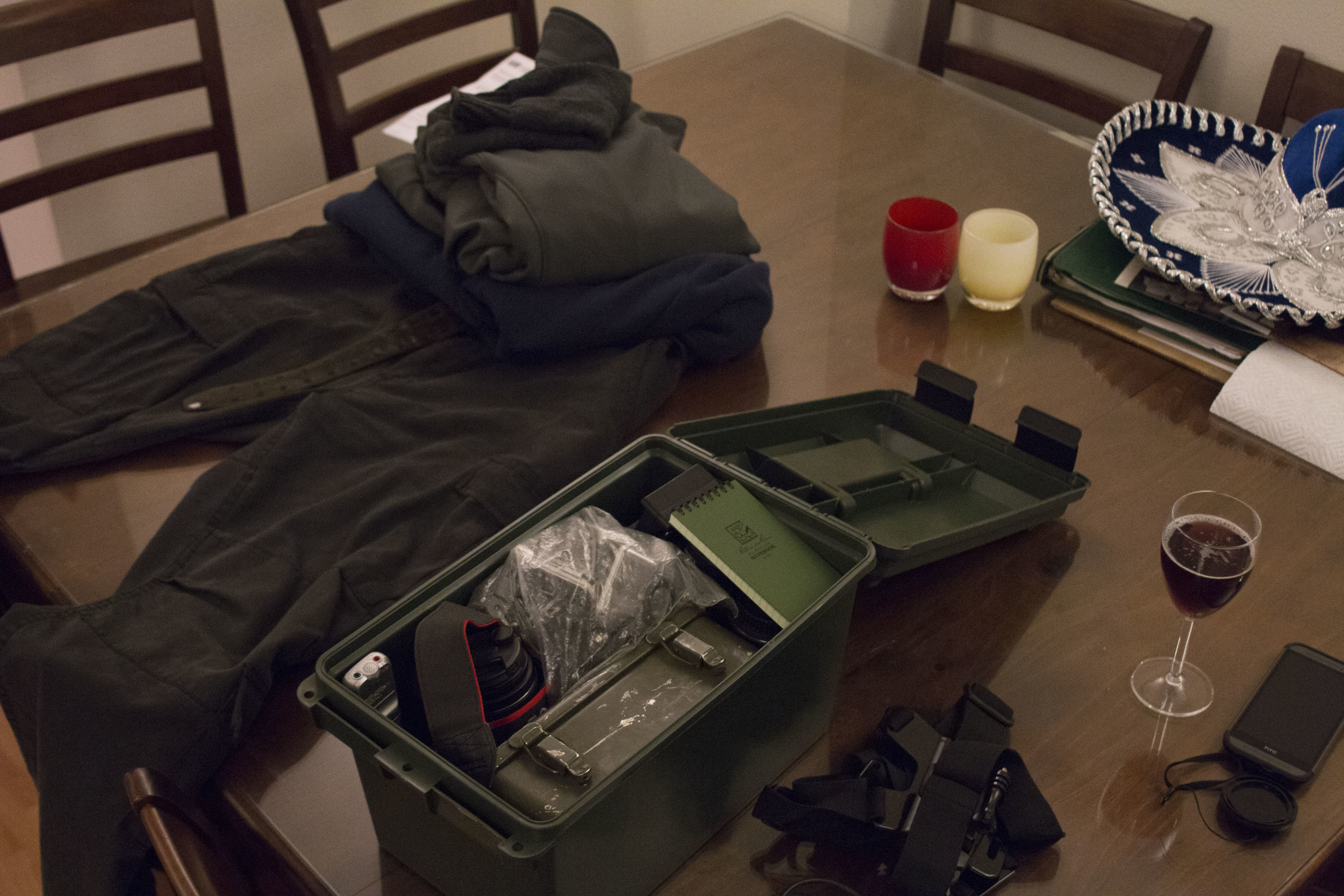 """The night before photographing the Black Friday Black Lives Matter protest, Nelson puts together his protest kit. """"I'm very superstitious,"""" Nelson said. """"If one part of my kit is off, I feel like my whole day will be off."""""""