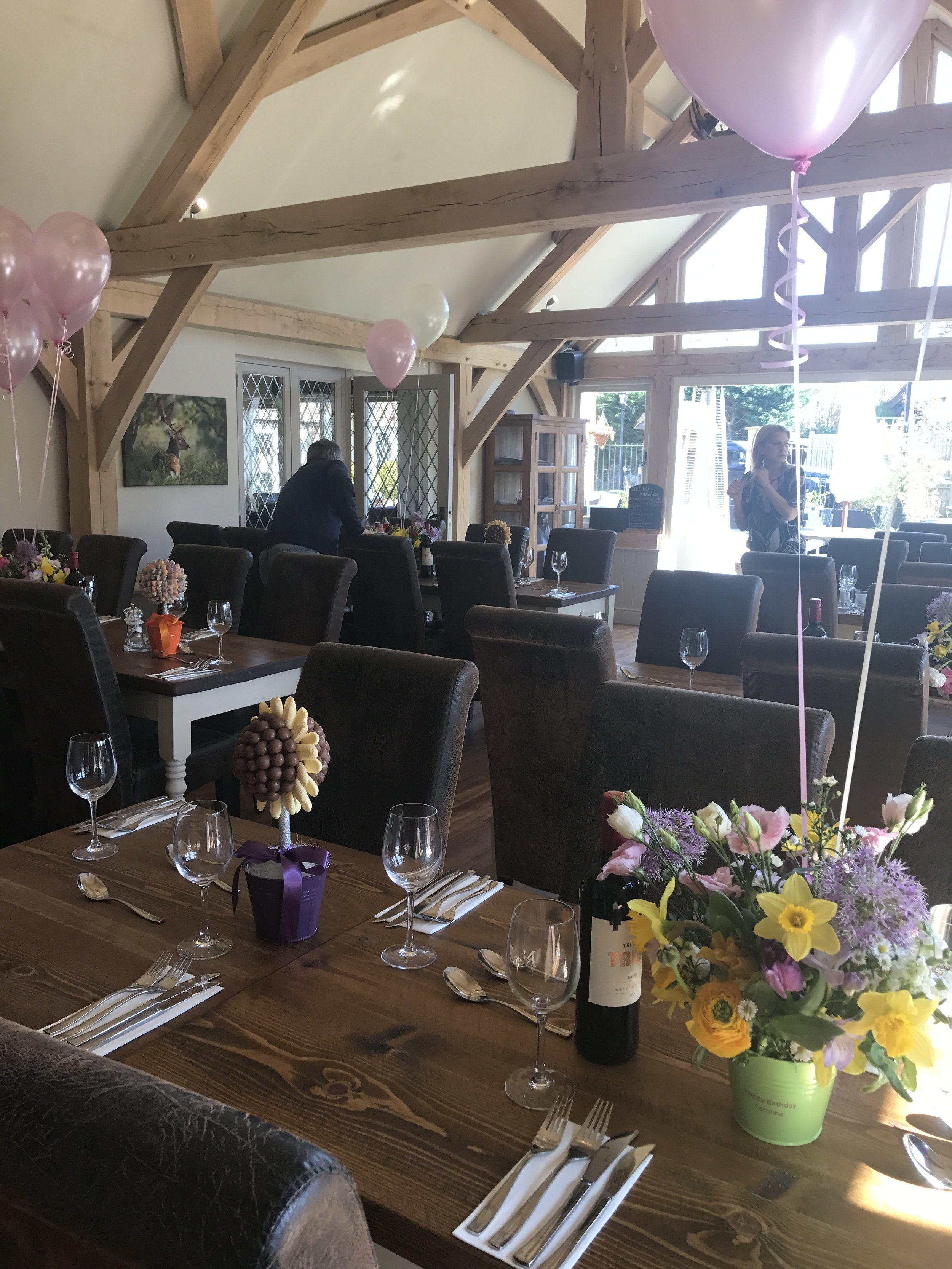 The barn set up for a birthday party - Availabe for private hire 7 days a week please give us a call or email to enquire about catering options and pricing.