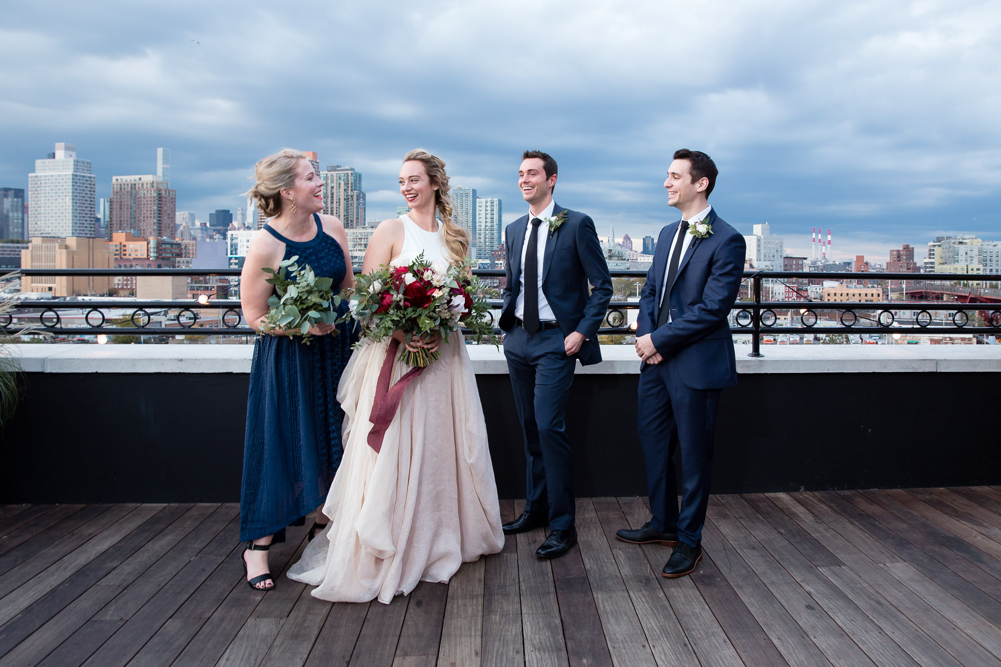 Brooklyn rooftop wedding party formal portrait