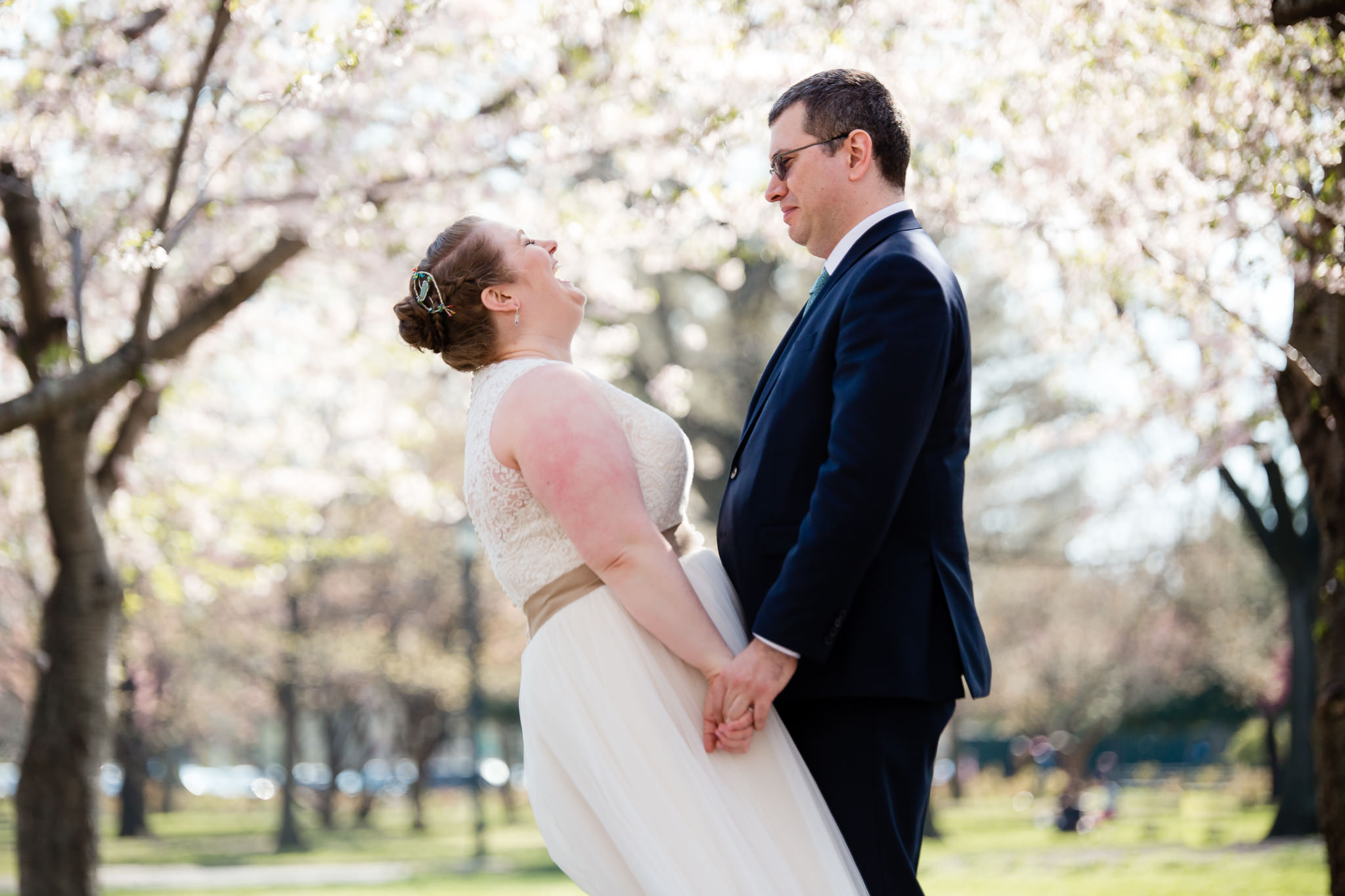 Flushing Meadows Corona Park Wedding Queens New York Bride and Groom Laughing in the Cherry Blossoms