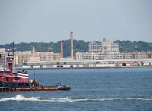 View of Geppetto Studios from the Staten Island Ferry in New York Harbor