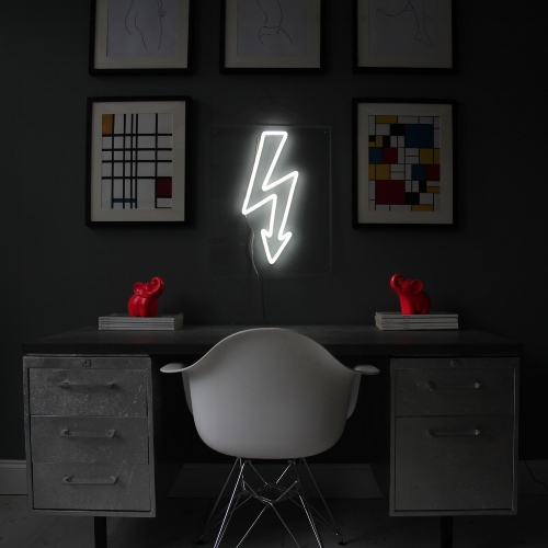 Everyone loves a bit of neon, but of course it's EXTREMELY expensive, right? WRONG! Meet  Bag &Bones , who create gorgeous and affordable neon pieces. Whilst the blogosphere has gone crazy for the neon Flamingos and Heart pieces, it's  The White Bolt  which will work best in The Curious Studio.