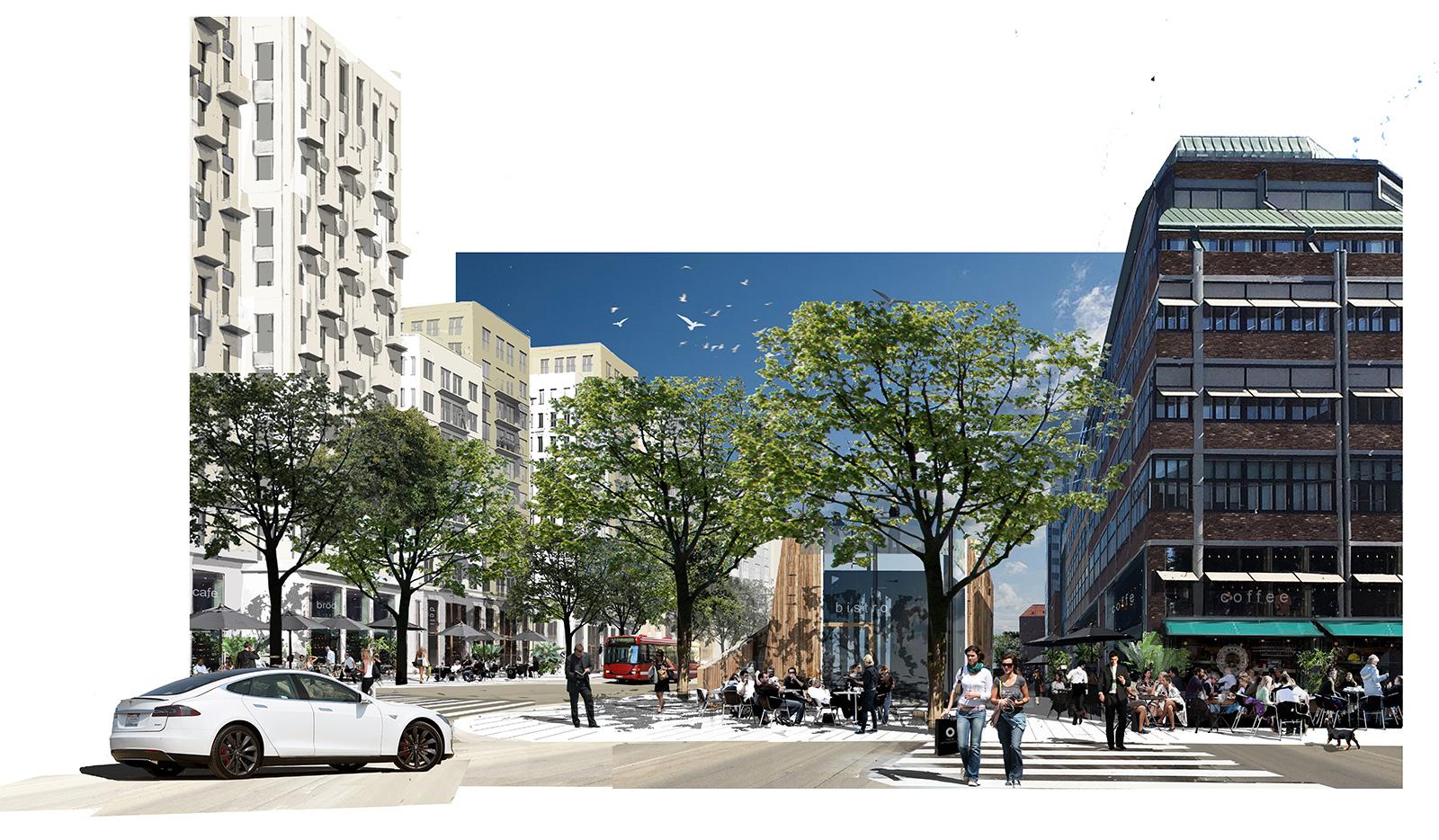 Collage Norra Stationsgatan, norrifrån.Arkitekt: Peter Becht