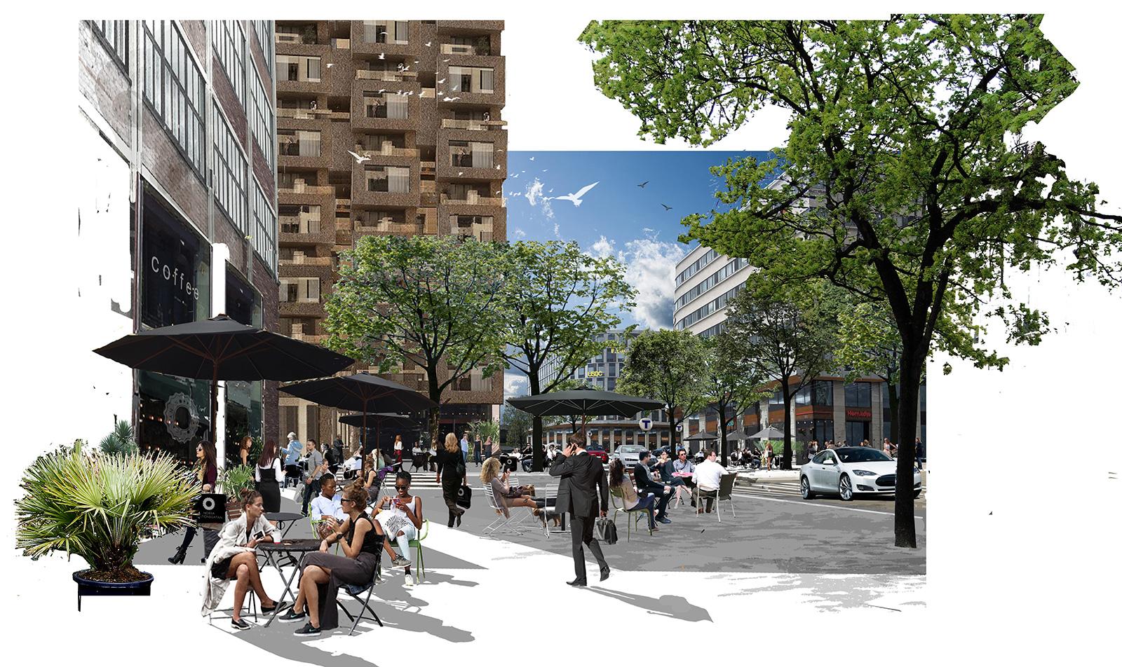 Collage Norra Stationsgatan,torg.Arkitekt: Peter Becht