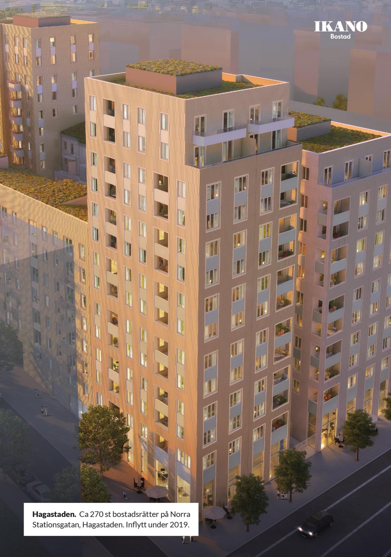 Hagastaden.  Ca 270 st bostadsrätter på Norra Stationsgatan, Hagastaden. Inflytt under 2019.Ikano Bostad
