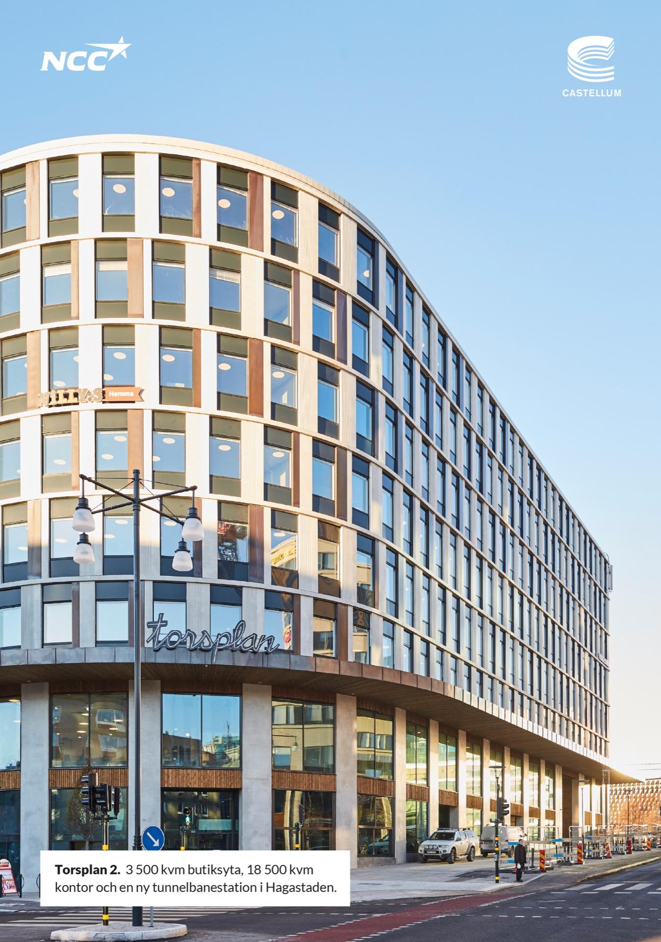 Torsplan 2. 3 500 kvm butiksyta, 18 500 kvm kontor och en ny tunnelbanestation i Hagastaden. NCC & Castellum