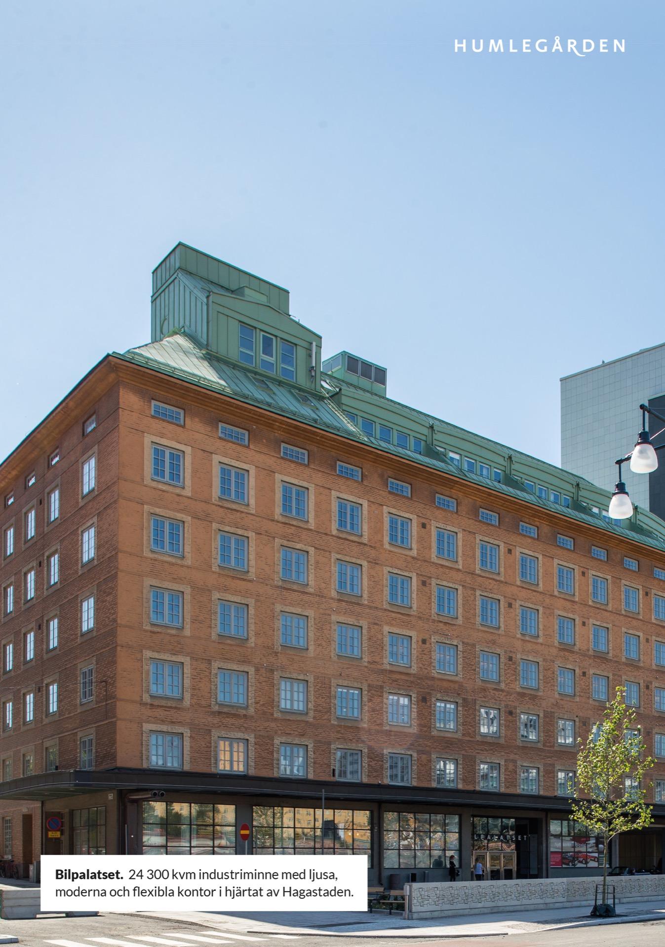Bilpalatset.  24 300 kvm industriminne med ljusa, moderna och flexibla kontor i hjärtat av Hagastaden.Humlegården