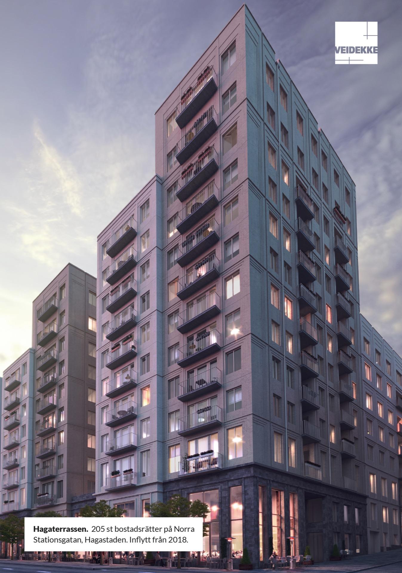 Hagaterrassen. 205 st bostadsrätter på Norra Stationsgatan, Hagastaden. Inflytt från 2018. Veidekke Bostad