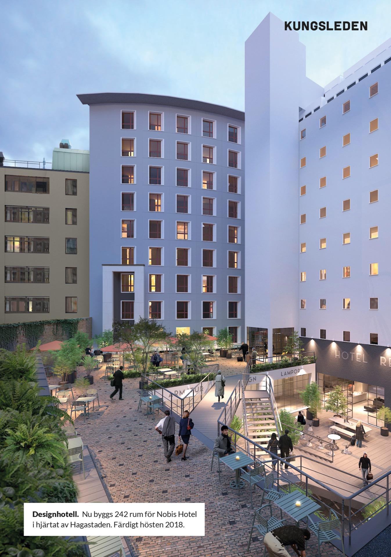 Designhotell. Nu byggs 242 rum för Nobis Hotel i hjärtat av Hagastaden. Färdigt hösten 2018. Kungsleden