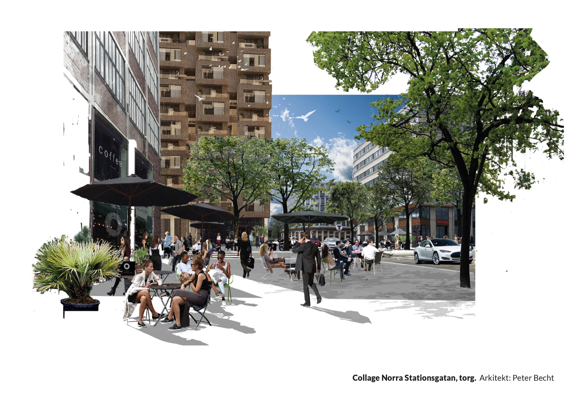 Collage Norra Stationsgatan, torg. Arkitekt: Peter Becht
