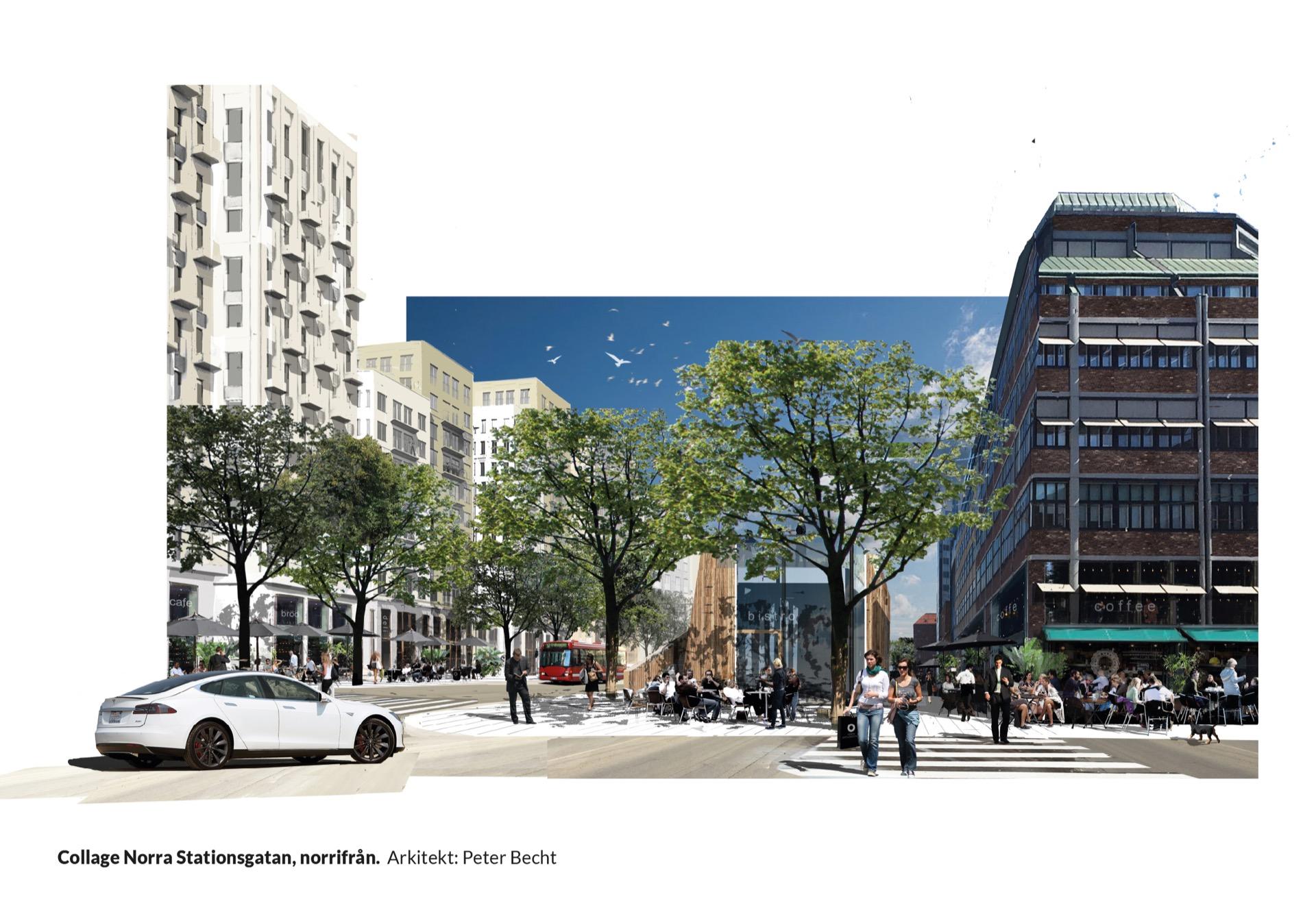 Collage Norra Stationsgatan, norrifrån. Arkitekt: Peter Becht