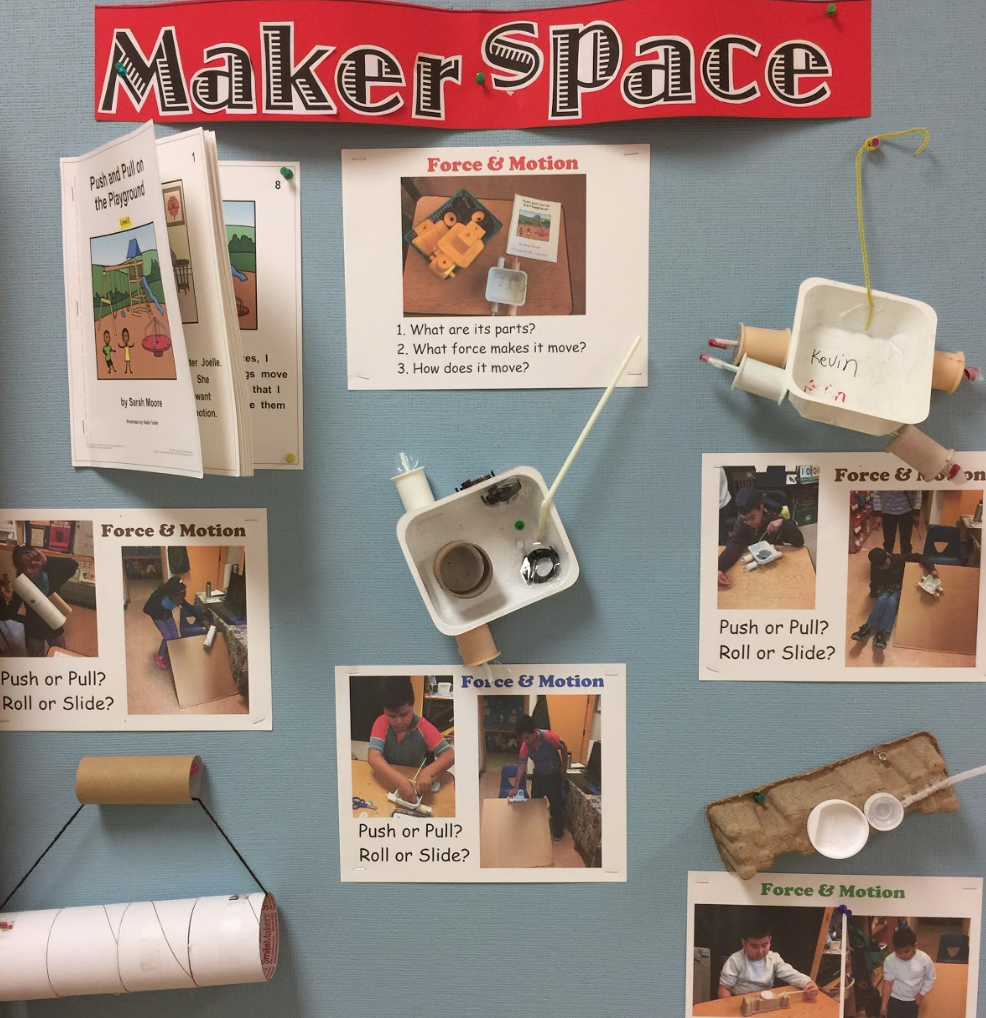 Redwood Heights special education teacher Stephanie Taymuree's   MakerSpace display board focuses on the Parts of a machine. In this experience, Stephanie's students learned that the choice of materials for the parts affects how the machine moves. This is a key scientific concept for moderate to severe special education students that was made more accessible with the use of the Parts, Purposes, & Complexities thinking routine.