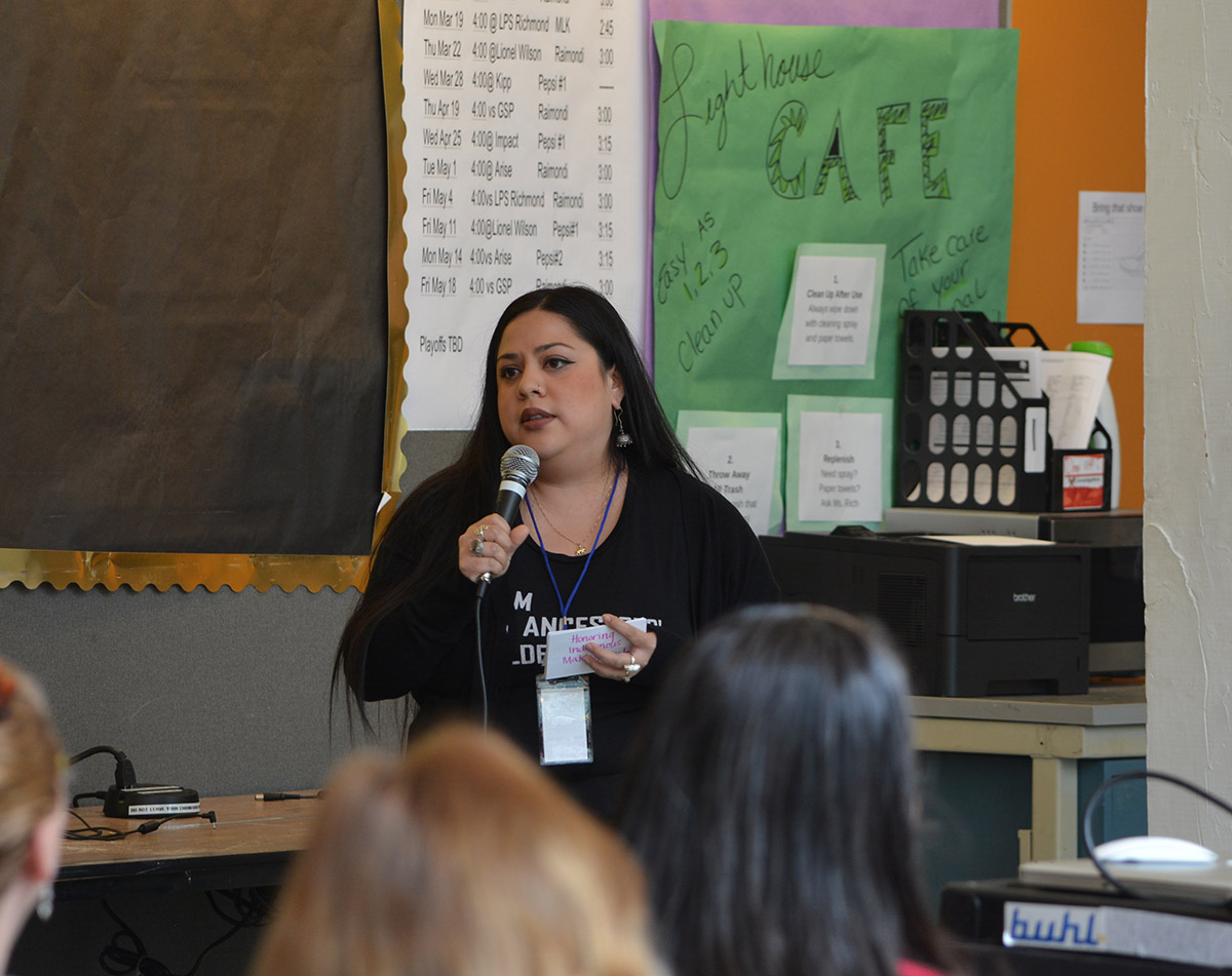 "Teacher Fellow Roxy Martínez , Resource Specialist at Grass Valley Elementary School, OUSD, in her talk entitled, ""Students of Color Sustaining and Creating Identities in Maker Education,"" spoke to the importance of maker education not being another tool to oppress our students, and instead a means of liberation."