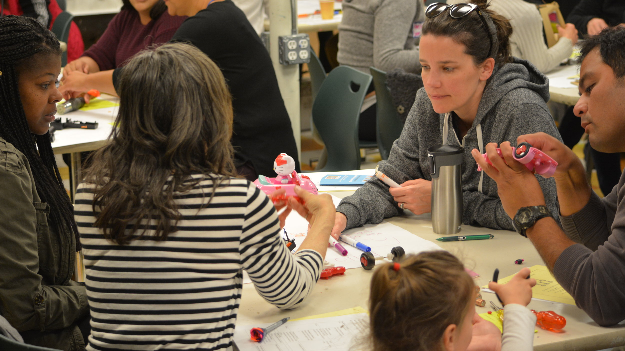 "Images from  Teacher Fellow Amy Dobras'  workshop, ""Agency  by  Design 101: Parts, Purposes, & Complexities,"" in which participants collaboratively took apart an object through the usage of a core Agency  by  Design thinking routine. Amy Dobras is the Middle School Making Teacher at Lighthouse Community Charter School."