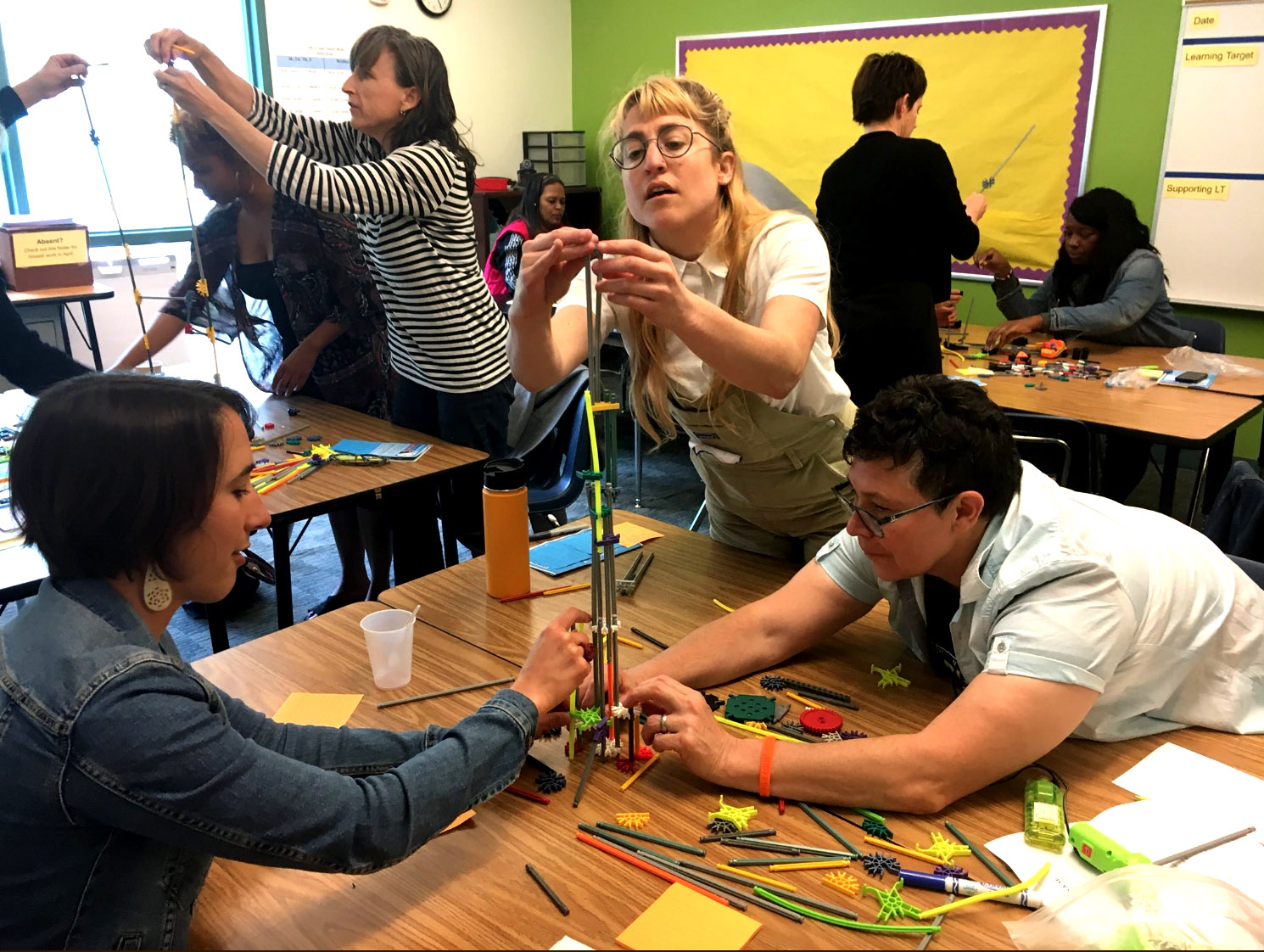 "Participants collaboratively building during a design challenge in ""Building Collegiality around Maker-Centered Learning - BRING THE FUN BACK TO LEARNING,"" with  Teacher Fellows Clayton Evans , Physics and Engineering Teacher &  Leah Jensen , Teacher Librarian, McClymonds HIgh School, OUSD"
