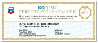 A sample ISOCLEAN certificate of analysis which certifies the cleanliness of your lubricants.