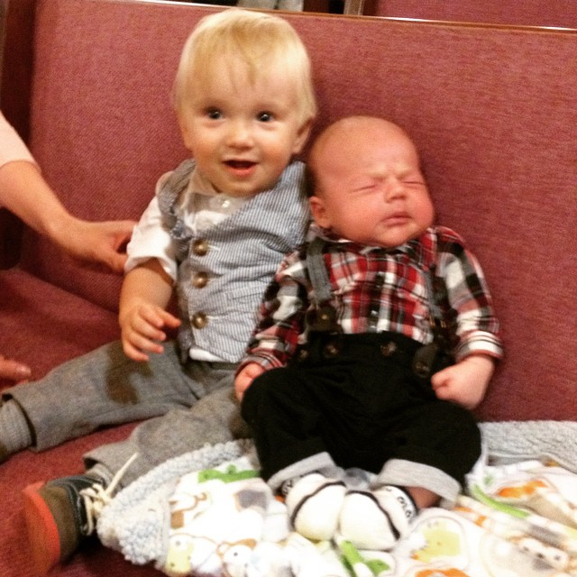 Asher and his cousin Wyatt, who was due shortly after Audrey was supposed to be born.
