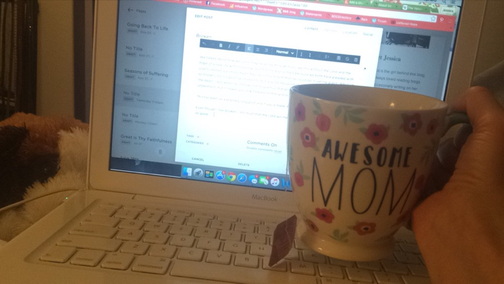 My favorite mug from my friend Leah from my first miscarriage with the most delicious chamomile lavender tea while writing this blog post under my cozy new blanket.