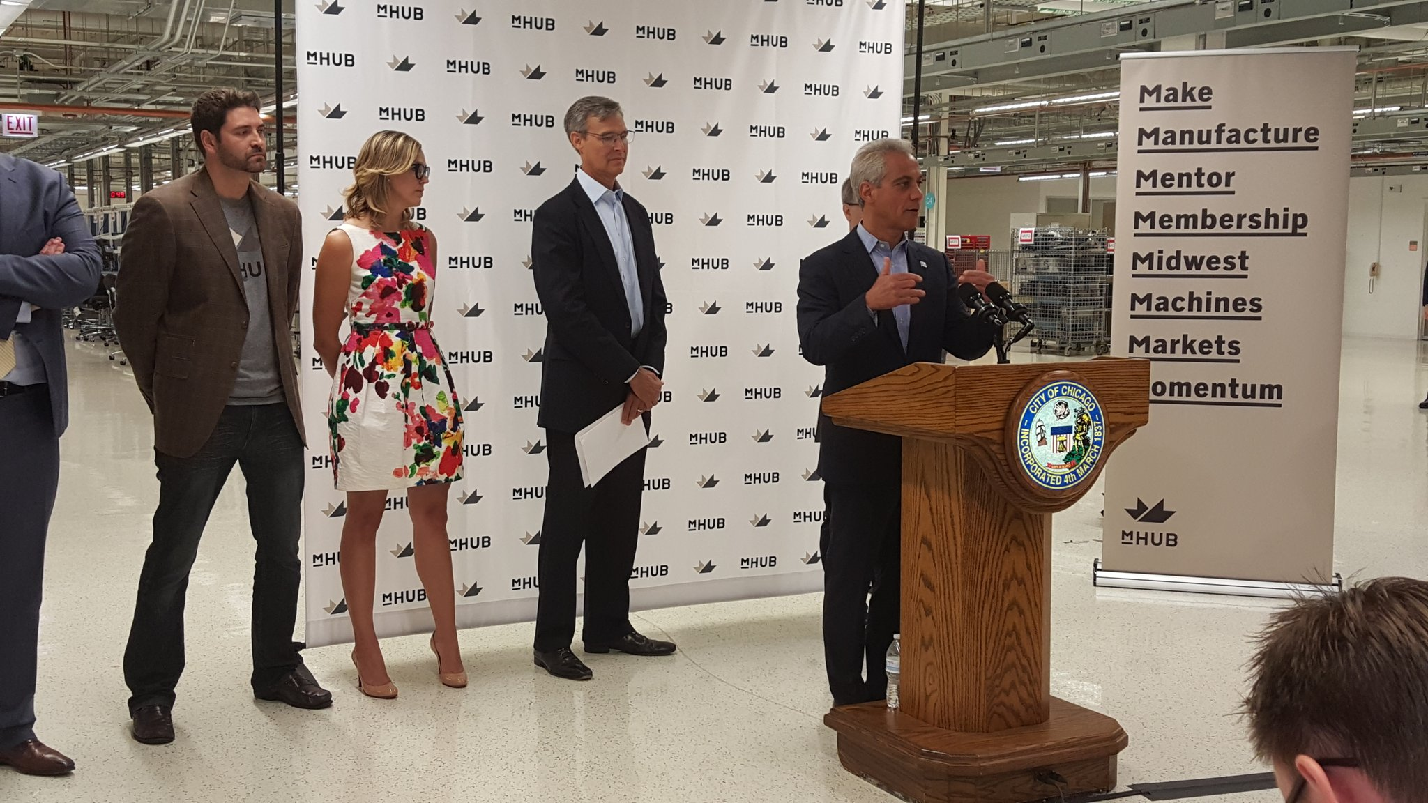 Mayor Emanual speaking at press conference announcing the launch of mHUB at 965 W. Chicago Ave.