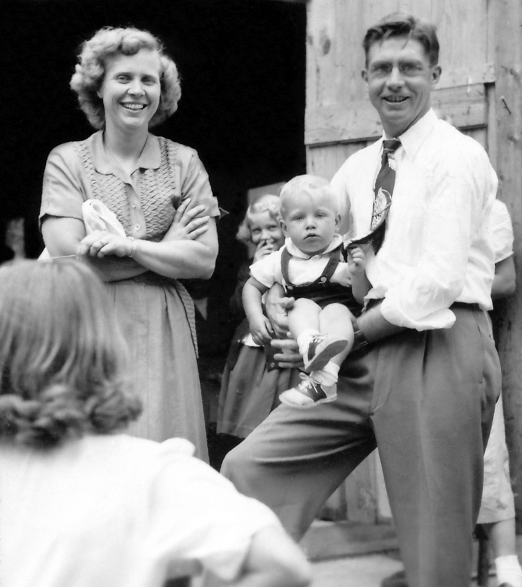 Ilene and Ernie Rockstad holding their second child of three and future president of Faith and Life Ministries Steve Rockstad.