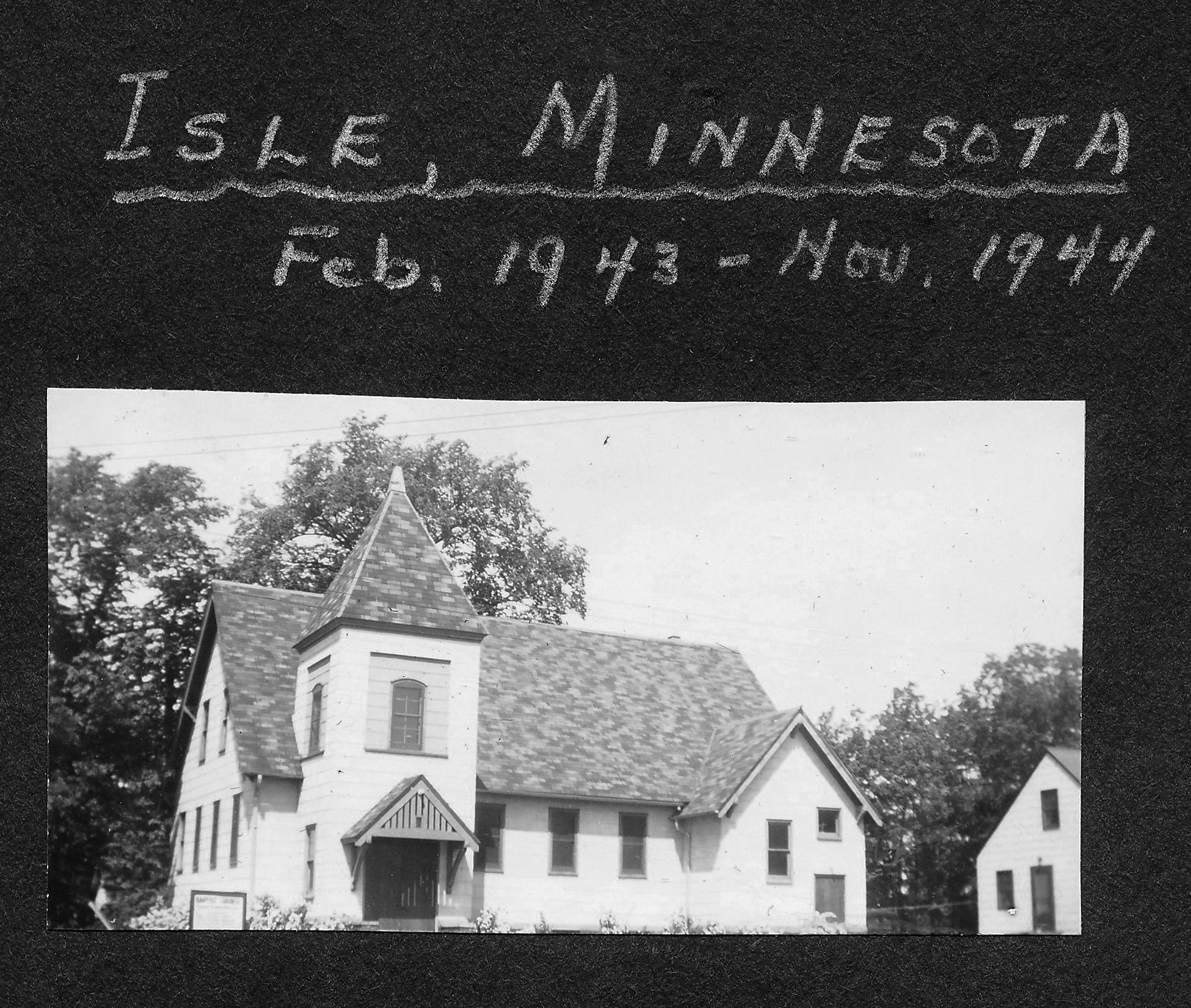 One of Ernie's first church assignments was in Isle, Minnesota, 1943.