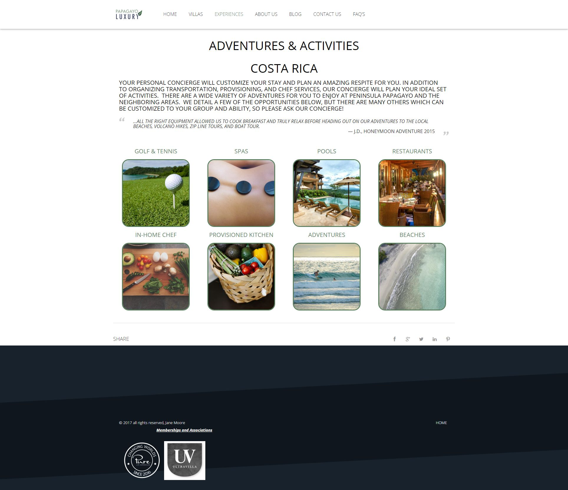 Example of New Experiences Page